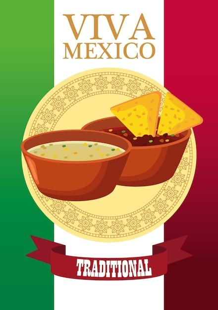 Letras de viva méxico e pôster de comida mexicana com nachos em molhos. Vetor Premium