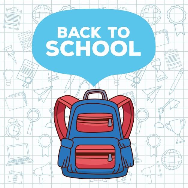 Letras de volta às aulas com mochila e conjunto de acessórios Vetor Premium