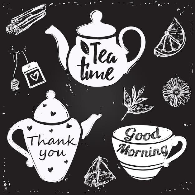 Letras de xícara de chá Vetor grátis
