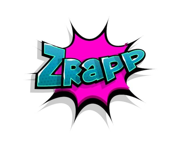 Letras de zrap wow. balão de fala do logotipo em quadrinhos Vetor Premium