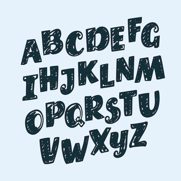 Letras desenhadas à mão, pontuação, números e sinais matemáticos, alfabeto, fonte Vetor Premium