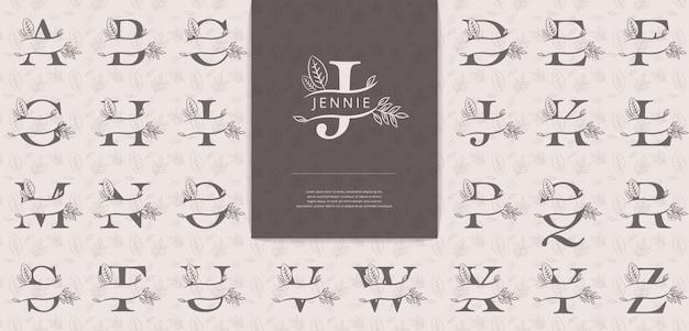Letras divididas com folhas são adequadas para o logotipo de nomes de mulheres Vetor Premium