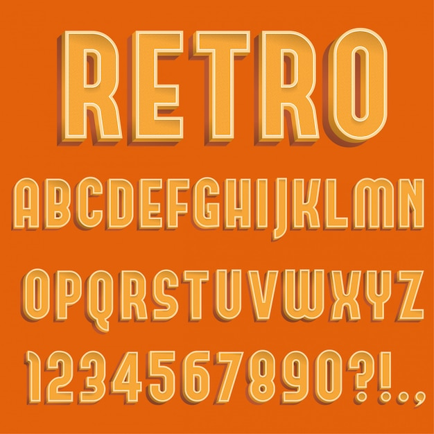 Letras do alfabeto 3d retrô, números e símbolo Vetor Premium