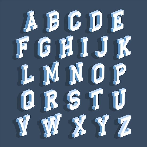 Letras do alfabeto com efeito 3d isométrico Vetor Premium