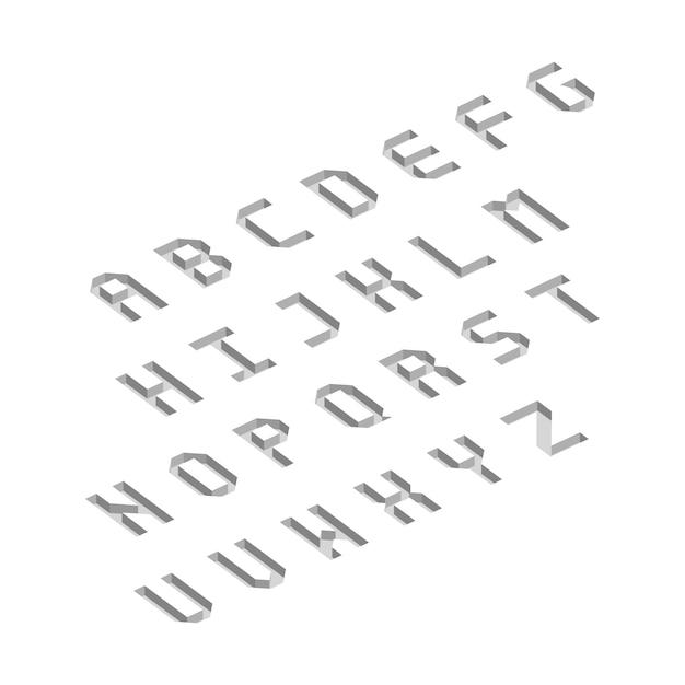 Letras do alfabeto com efeito isométrico 3d. ilustração vetorial. Vetor Premium