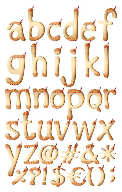 Letras do alfabeto com obras de arte indiana Vetor grátis