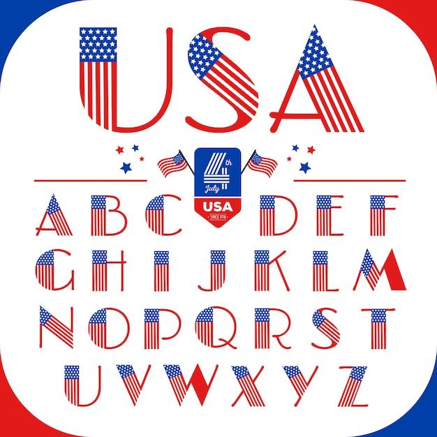 Letras do alfabeto definidas no estilo eua com bandeira americana. feliz 4 de julho. Vetor Premium