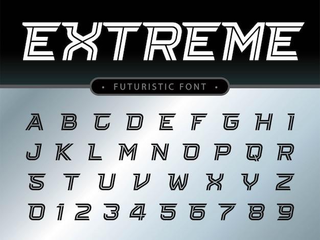 Letras do alfabeto definido para tecnologia Vetor Premium