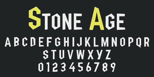 Letras do alfabeto e números de pedra Vetor Premium