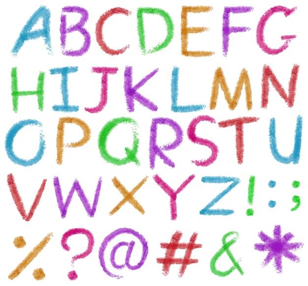 Letras do alfabeto em cores vivas Vetor grátis