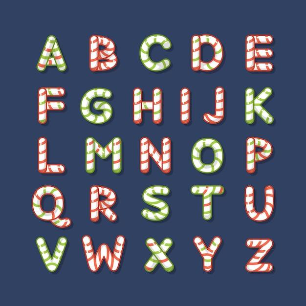 Letras do alfabeto natalino de cana doce Vetor grátis