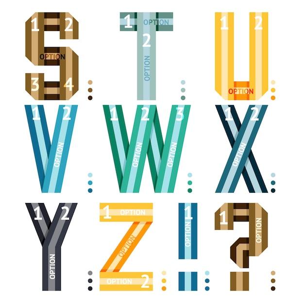 Letras do alfabeto vetorial de fitas e linhas com opções numéricas para uso em infográficos Vetor grátis