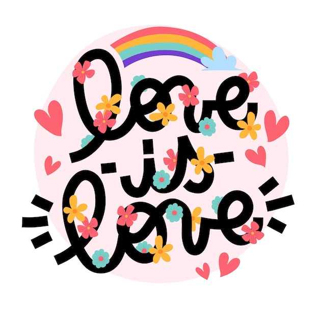 Letras do dia do orgulho com arco-íris Vetor grátis