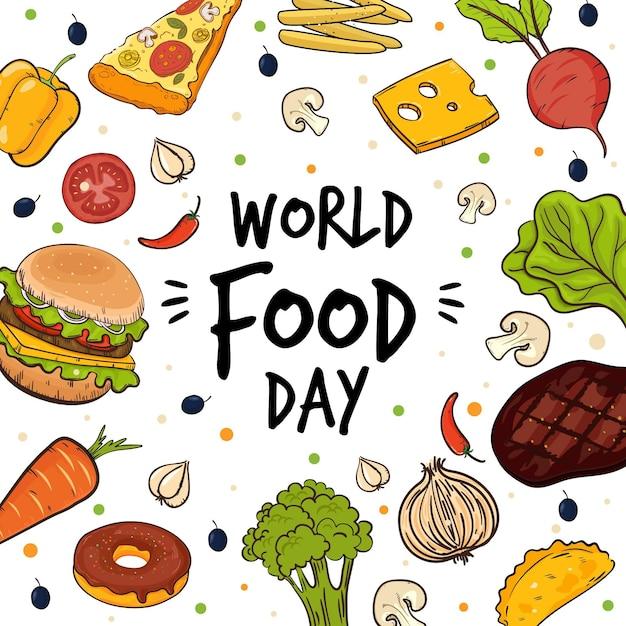 Letras do dia mundial da comida rodeadas de produtos alimentares Vetor grátis