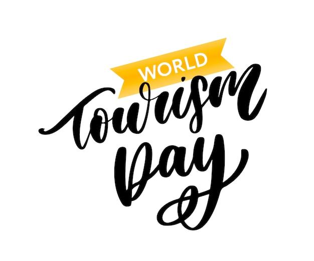 Letras do dia mundial do turismo Vetor Premium
