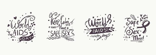 Letras do evento do dia mundial da aids Vetor Premium