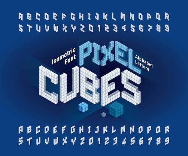 Letras e números do alfabeto de cubo Vetor Premium