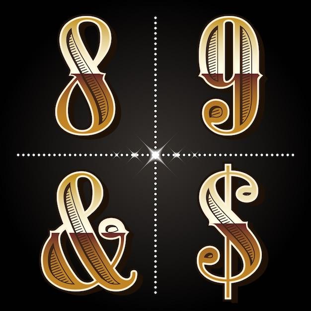 Letras e números do alfabeto gradiente ocidental Vetor Premium