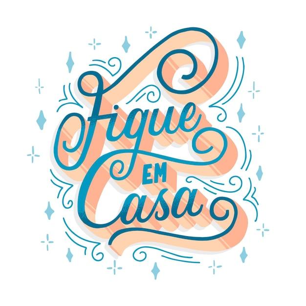 Letras elegantes de ficar em casa em português Vetor grátis