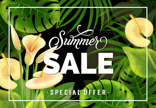 Letras especiais da oferta da venda do verão com lírios de calla. oferta de verão ou publicidade de venda Vetor grátis