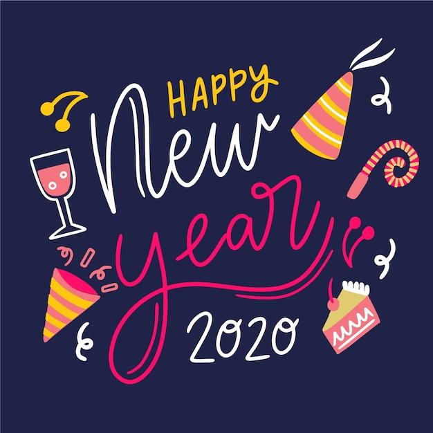 Letras feliz ano novo 2020 com chapéu de festa e gêneros alimentícios Vetor grátis