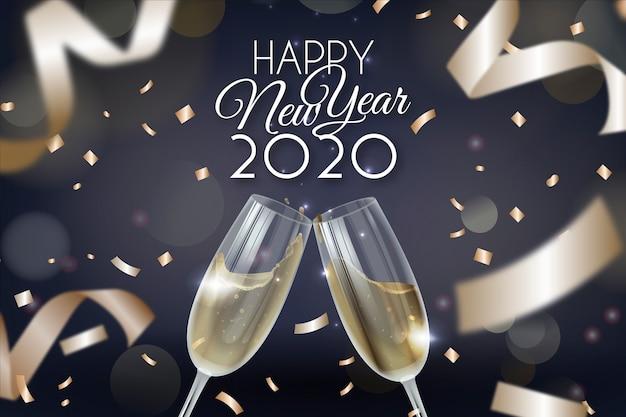Letras feliz ano novo 2020 com papel de parede realista decoração Vetor grátis