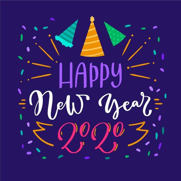 Letras feliz ano novo 2020 em fundo azul Vetor grátis