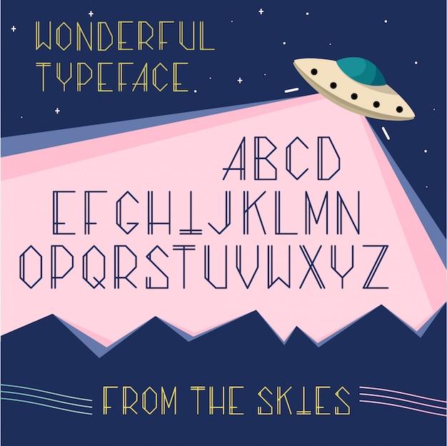 Letras maiúsculas do alfabeto no espaço, o conceito ufo. fonte de desenho animado cosmos para tipografia. Vetor grátis