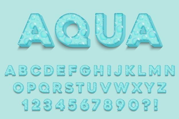 Letras, números e símbolos do alfabeto 3d moderno do aqua. tipografia fresca. vetor Vetor Premium