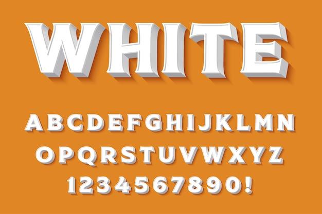 Letras, números e símbolos do alfabeto branco 3d moderno. tipografia limpa. vetor Vetor Premium