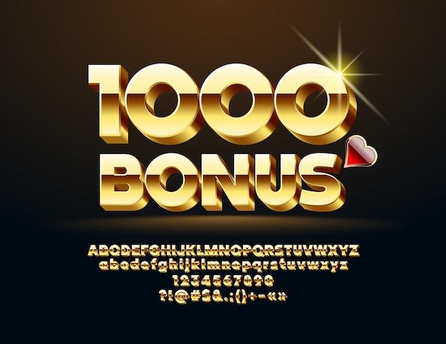 Letras, números e símbolos do casino chic. fonte de ouro 3d. Vetor Premium