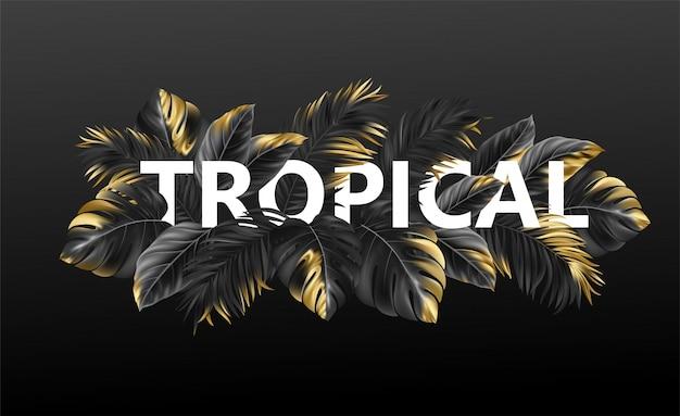 Letras tropicais em um fundo de folhas tropicais de plantas. Vetor Premium