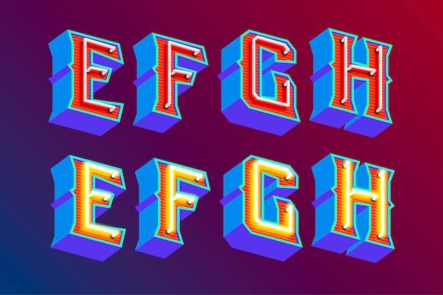 Letras vintage 3d com luzes de néon fluorescentes e modo de interruptor on / off Vetor Premium