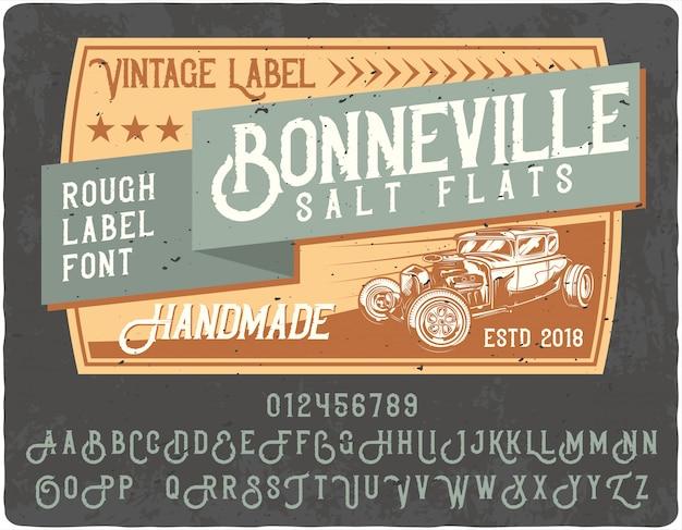 Letras vintage bonneville Vetor Premium