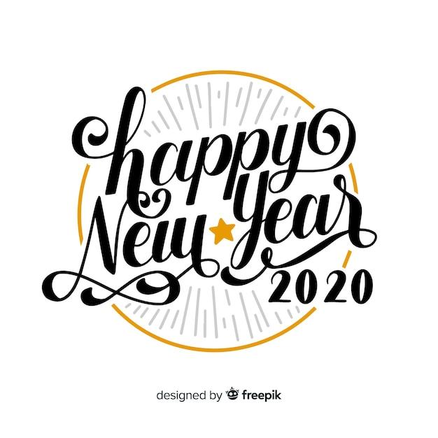 Letras vintage com feliz ano novo Vetor grátis