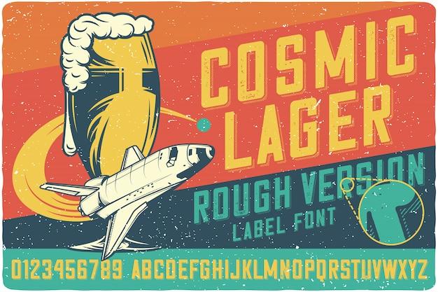 Letras vintage de cerveja cósmica Vetor Premium