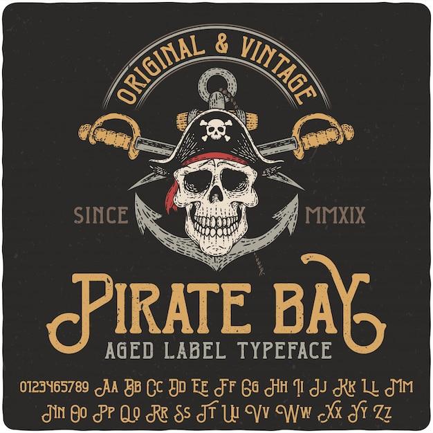 Letras vintage pirata ba Vetor Premium