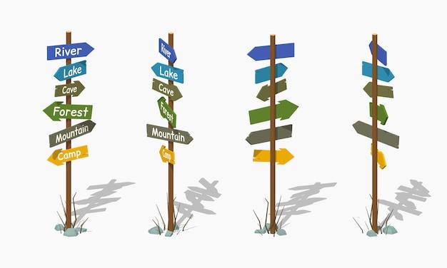 Letreiro de madeira com as setas coloridas. ilustração em vetor isométrica lowpoly 3d. Vetor Premium