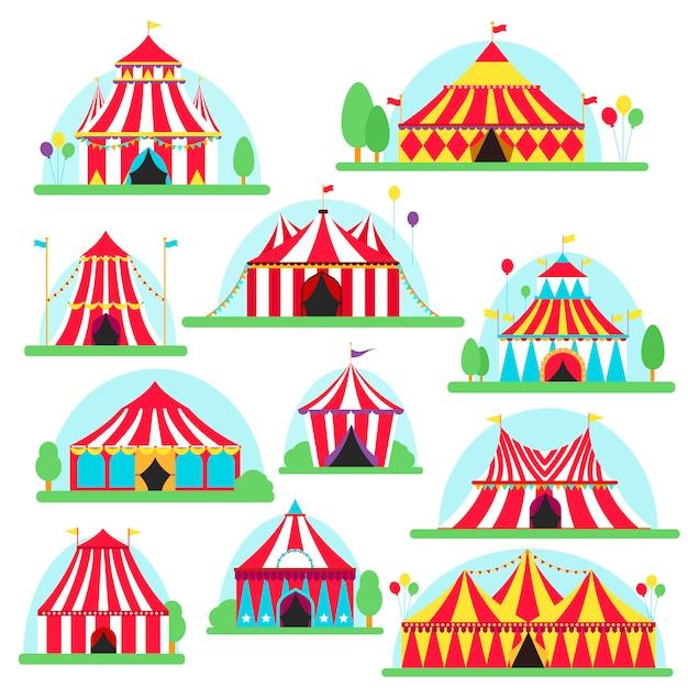 Letreiro de tenda de circo com listras e bandeiras Vetor Premium