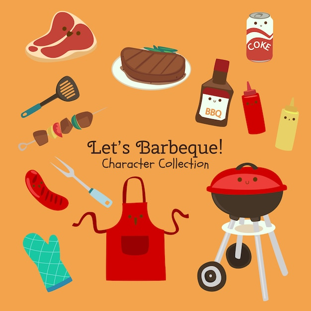 Lets barbeque character collection Vetor Premium
