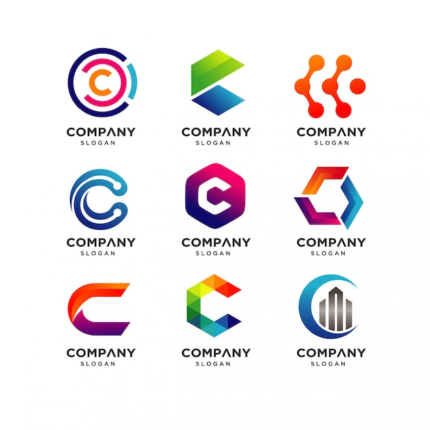 Letter c logo design templates Vetor Premium