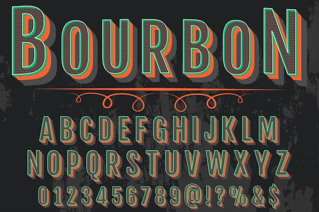 Lettering bourbon design de rótulo de efeito sombra Vetor Premium