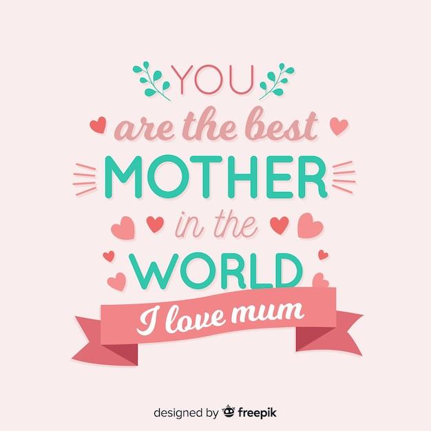 Lettering fundo do dia das mães Vetor Premium
