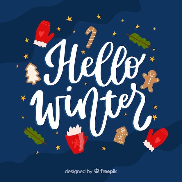 Lettering olá inverno Vetor grátis