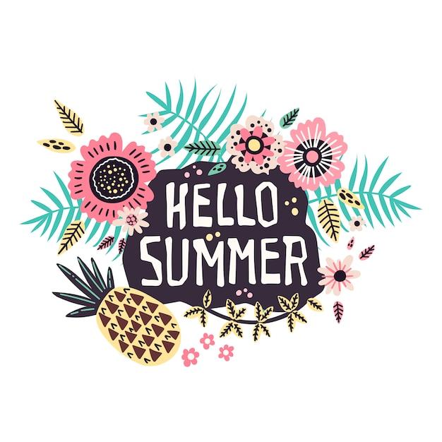 Lettering: olá verão - rodeado de frutas e plantas tropicais. Vetor Premium