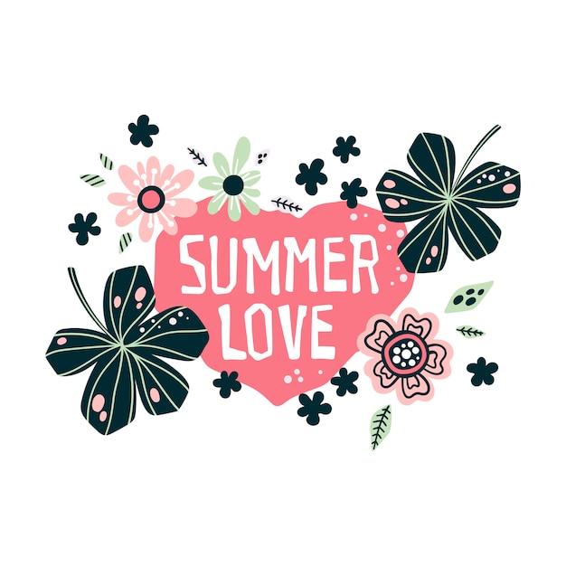 Lettering: summer love - cercado por plantas e flores tropicais. vetor. Vetor Premium