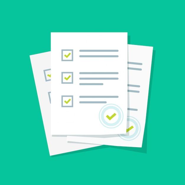 Levantamento ou formulário de exame de folhas de papel pilha com lista de verificação do quiz respondidas e sucesso resultado avaliação plana dos desenhos animados Vetor Premium