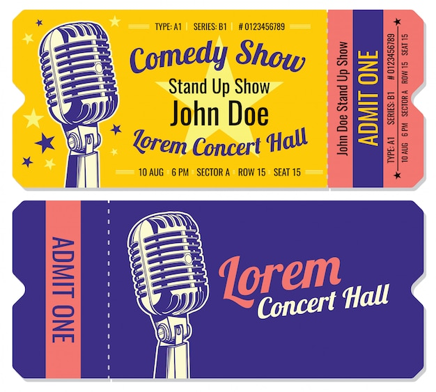 Levante-se modelo de bilhetes de entrada de show de comédia. Vetor Premium