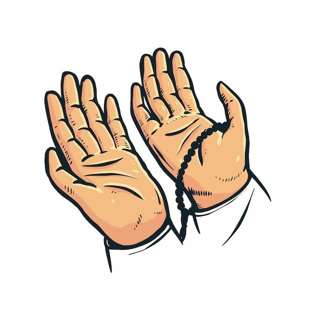 Levante sua mão em oração Vetor Premium