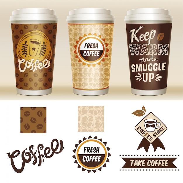 Leve embora o conjunto de modelos de embalagens de café Vetor grátis